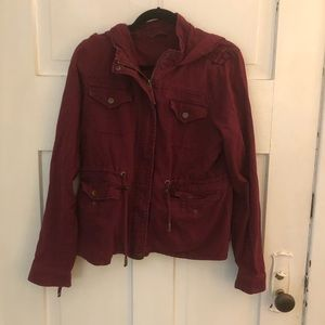 Aeropostale Woman's Red Hooded Utility Jacket XL